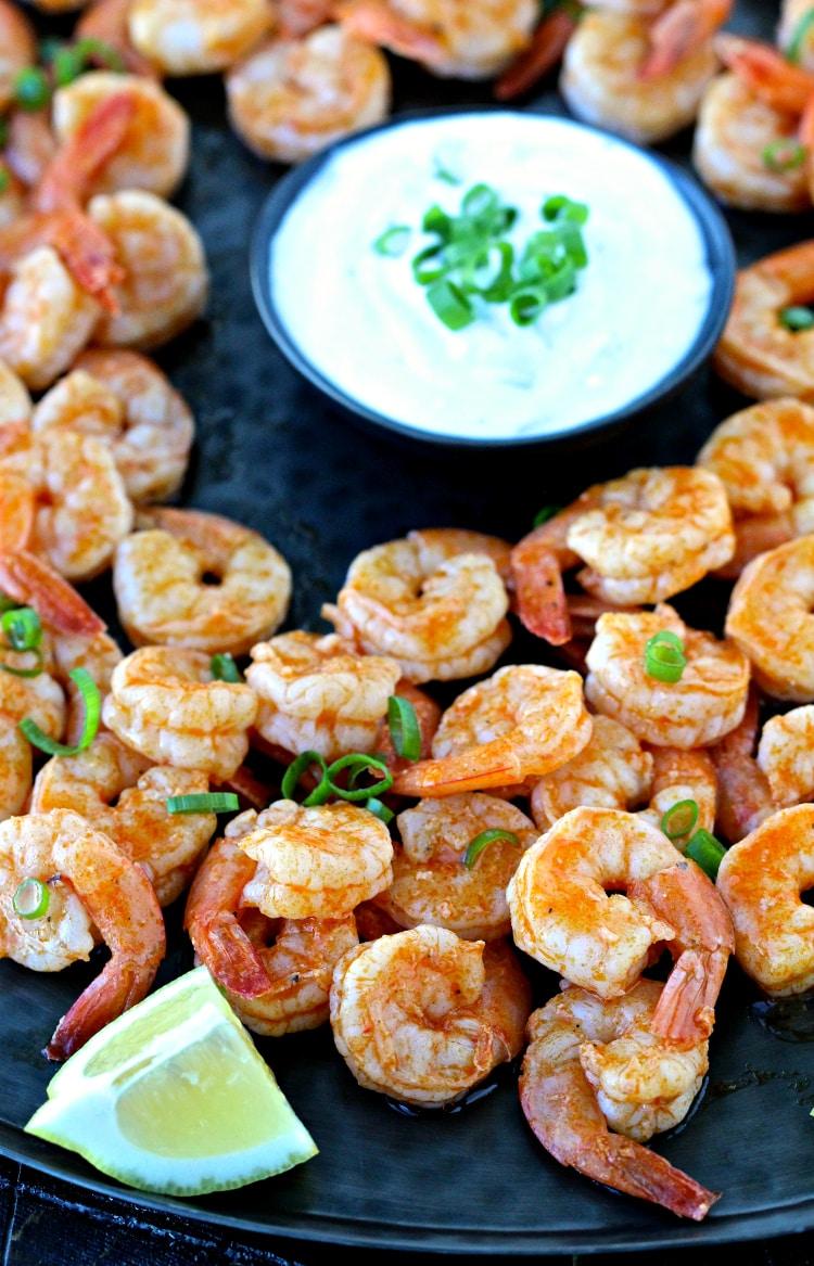 Super Bowl Snacks- Grilled Buffalo Shrimp | @foodiephysician