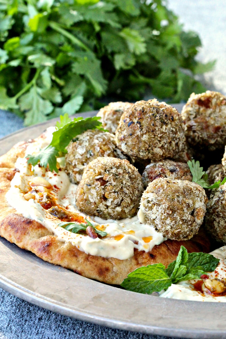 "Mediterranean Eggplant Hummus ""Meatballs"" | @foodiephysician"