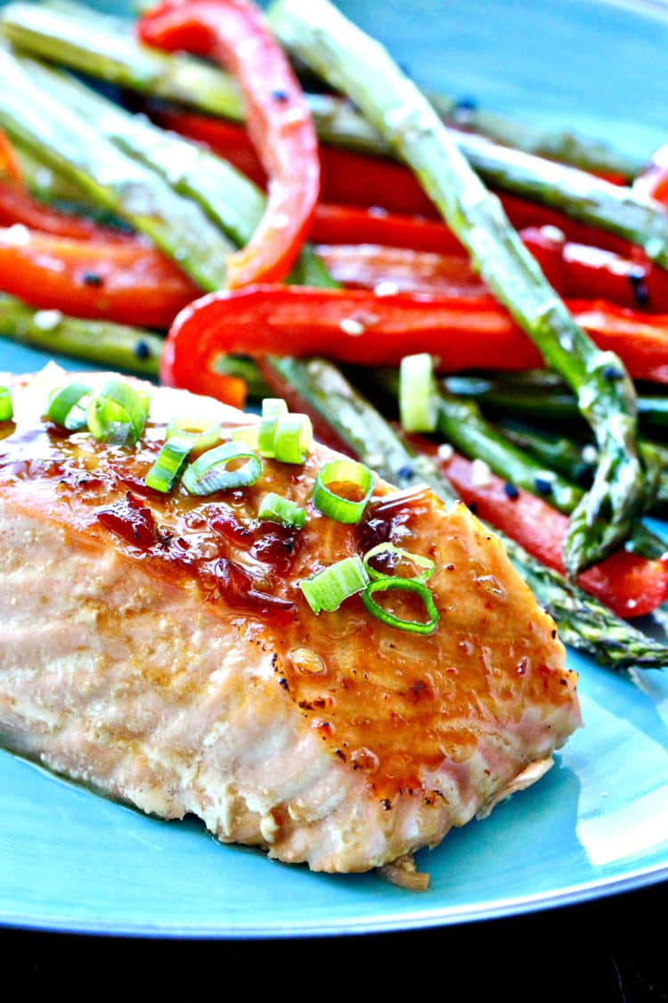 Sheet Pan Salmon with Sweet Chili Sauce | @foodiephysician
