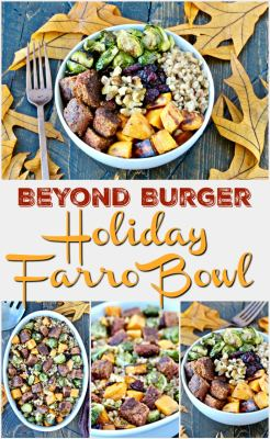 Beyond Burger Holiday Farro Bowls- this hearty vegan dish is packed with colorful, seasonal ingredients and is the perfect addition to your holiday table!