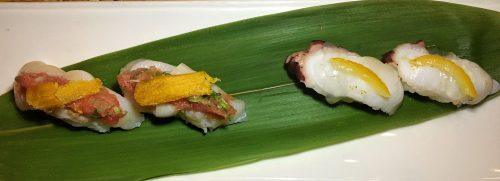 Saiko Sake & Sushi, Octopus and Scallop Nigiri