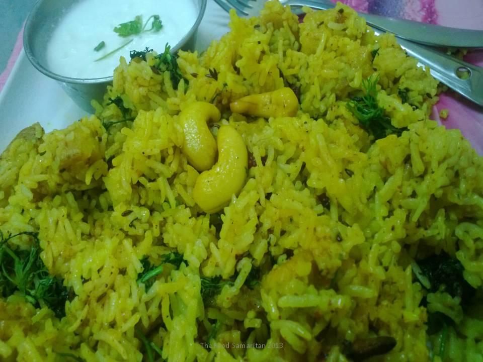 Gatte Ka Pulao(Gram Flour Dumplings with Rice)