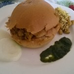Bun Chole(Burger Buns slit and layered with spiced chickpeas)