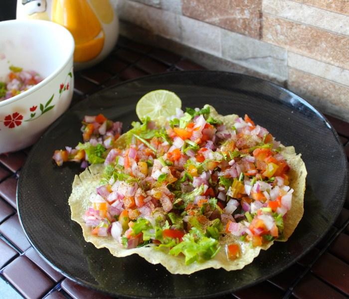 Masala Papad(Poppadums with fresh salad)