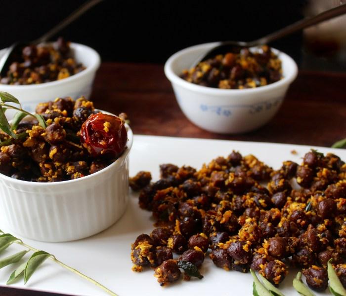 Black Chickpeas/Kala Chana Sundal (South Indian Chickpea Stir Fry)