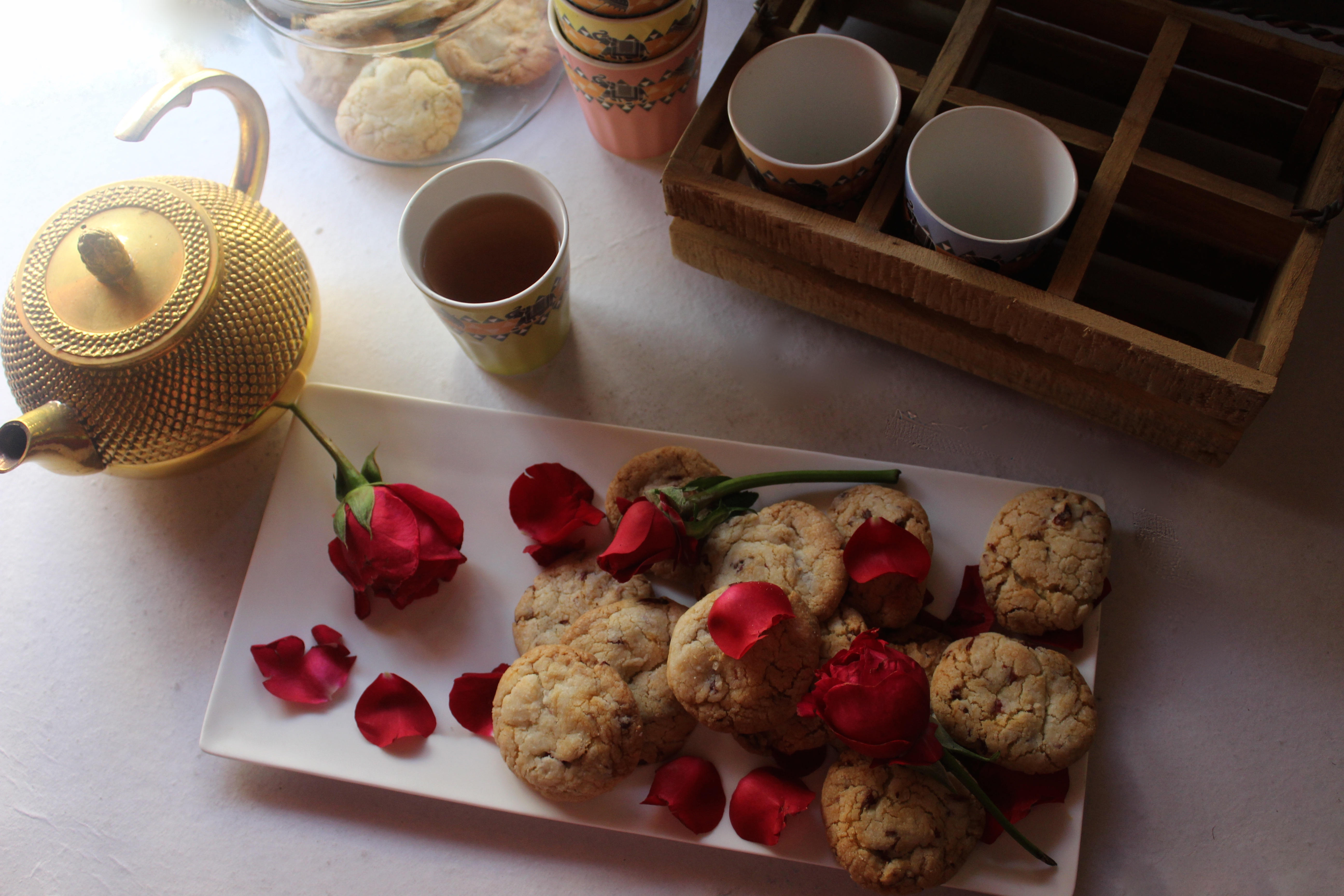 Rose flavoured Nankhatai with candied Rose Petals