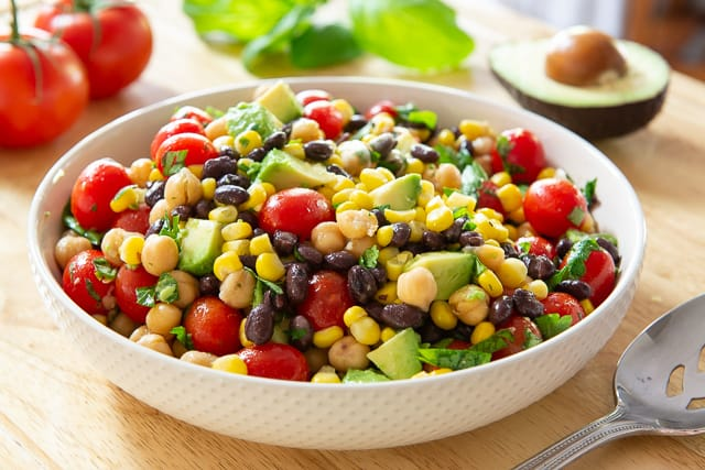 Mexican Red Bean Salad with Corn and Chickpeas Recipe