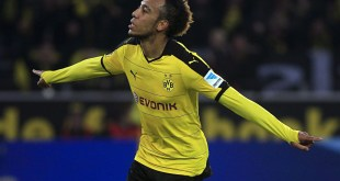Pierre-Emerick Aubameyang celebrates scoring for Borussia Dortmund