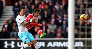 Manolo Gabbiadini and Jose Fonte battle as West Ham played Southampton at St Marys in the Premier League