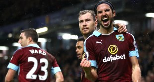George Boyd celebrates with his Burnley teammates