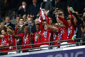 Manchester United lift the 2017 EFL Cup at Wembley