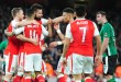 Arsenal celebrate after scoring on their way to beating Lincoln City 5-0 in the FA Cup