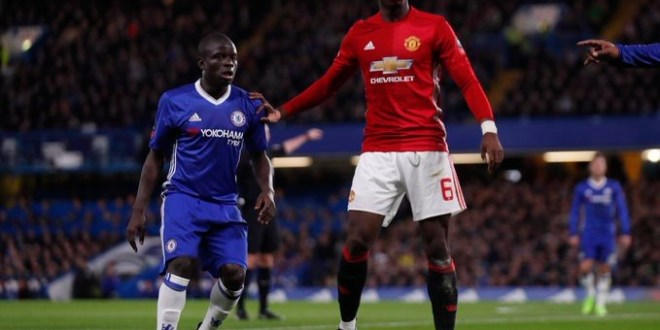 Paul Pogba and N'Golo Kante in the FA Cup match between Man Utd and Chelsea