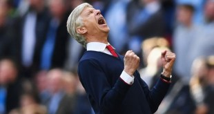 Arsene Wenger celebrates Arsenal's FA Cup semi final win against Manchester City