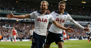 Dele Alli and Harry Kane celebrate after beating Arsenal 2-0 in the North London Derby