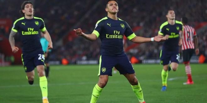 Alexis Sanchez scores for Arsenal against Southampton