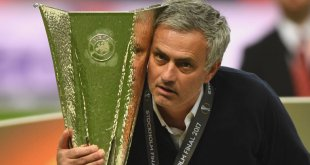 Mourinho with the Europa League trophy