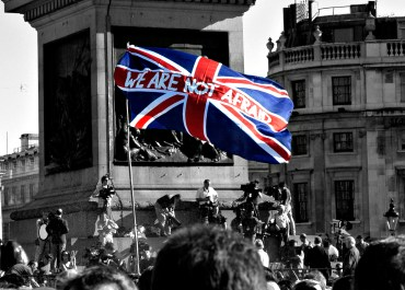 uk flag terrorism protest london
