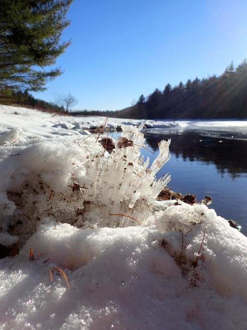 Ice on the water, hoarfrost