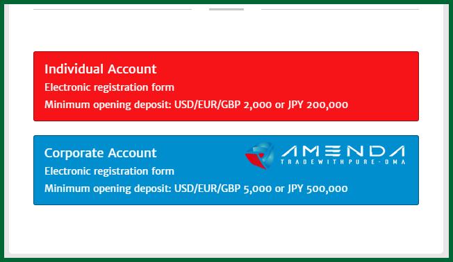 Amenda Forex Broker Account Types