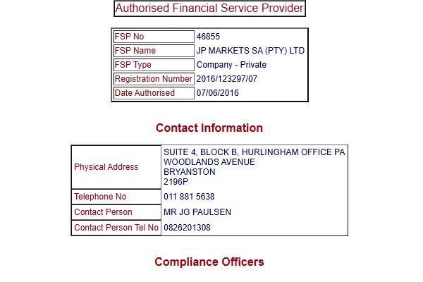 JP Markets License