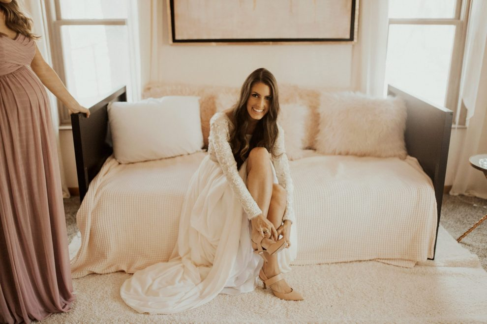 Shiloe gets ready in our posh destination wedding cabin for her rustic romance wedding