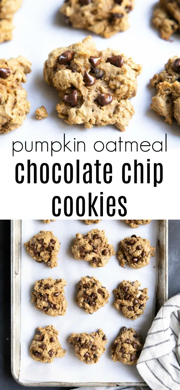 Pumpkin Oatmeal Chocolate Chip Cookies (PLUS VIDEO)- loaded with chewy oats and gooey chocolate chips, these family-favorite Pumpkin Oatmeal Cookies are easily the best Pumpkin Oatmeal Chocolate Chip Cookies ever! #pumpkin #cookies #pumpkinoatmealcookies #chocolatechipcookies #pumpkincookies #dessert #oatmealcookies | For this recipe and more visit, https://theforkedspoon.com/pumpkin-oatmeal-chocolate-chip-cookies