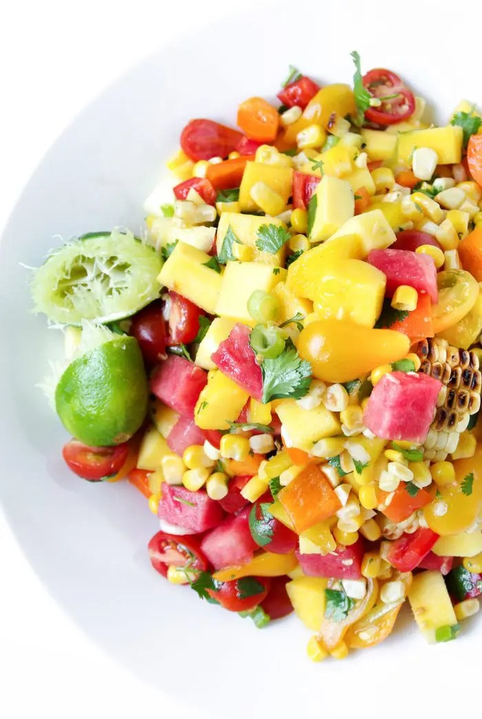 Mango, Watermelon And Corn Salad