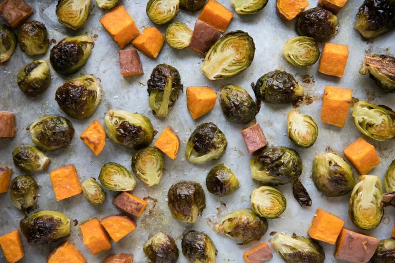 Crispy roasted brussel sprouts and sweet potatoes
