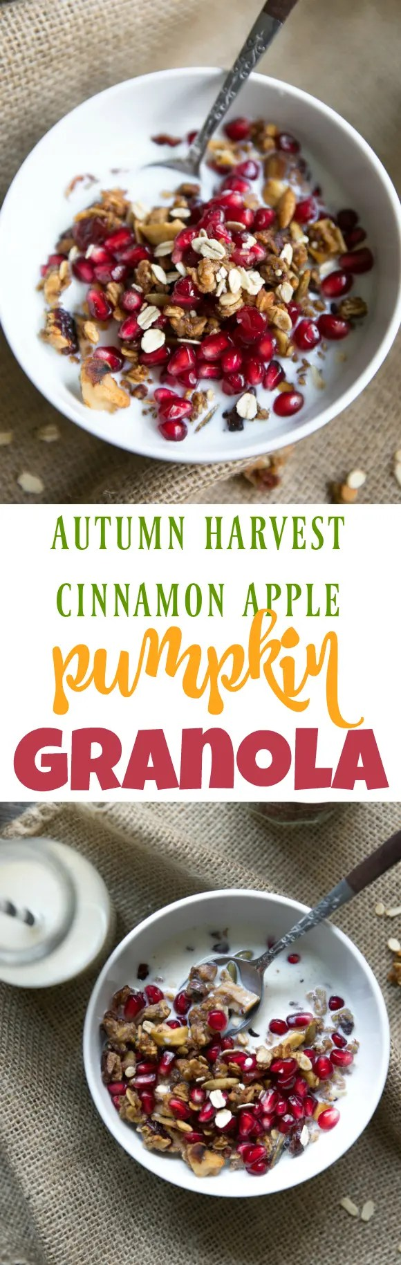 Autumn Harvest Cinnamon Apple Pumpkin Granola. The flavors of Autumn come together in this Autumn Harvest Cinnamon Apple and Pumpkin Granola; an easy, healthy and homemade breakfast treat the whole family will love! #autumn #granola #breakfast #healthyrecipes #pumpkin