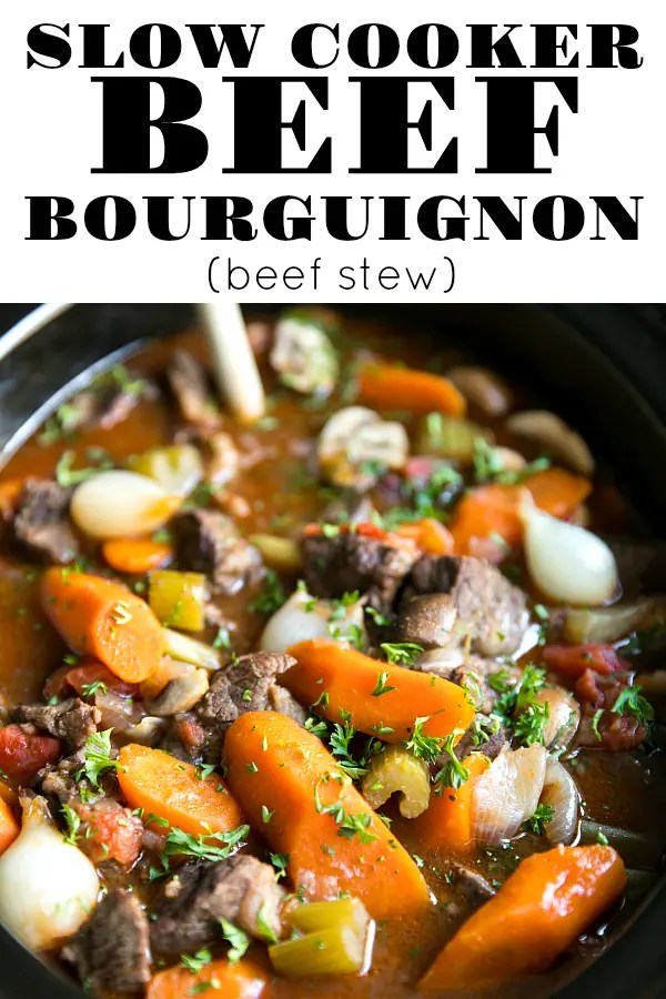 Easy Slow Cooker Beef Bourguignon (beef stew) made with juicy beef, carrots, celery, red wine, onions, and tomatoes via @theforkedspoon #ad #beefstew #slowcooker #crockpot #beef #beefbourguignon #easydinner