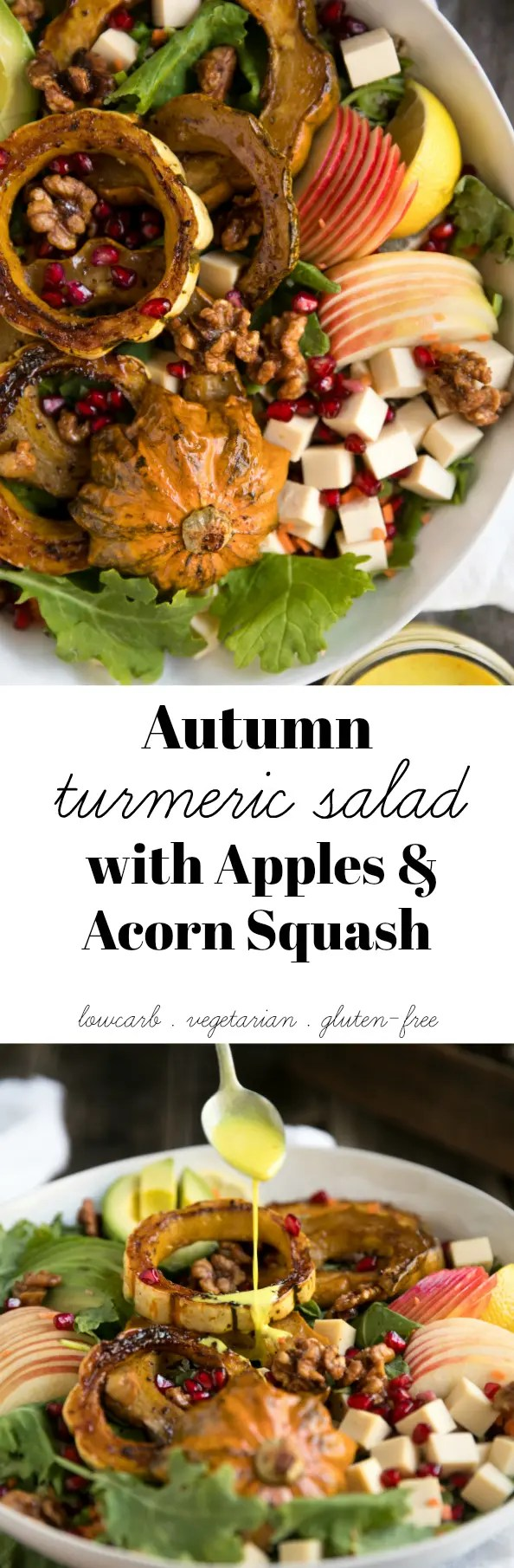 Autumn Turmeric Salad with Apples and Acorn Squash #salad #turmeric #squash #goudacheese #healthy #vegetarian #apples #dinner via @theforkedspoon