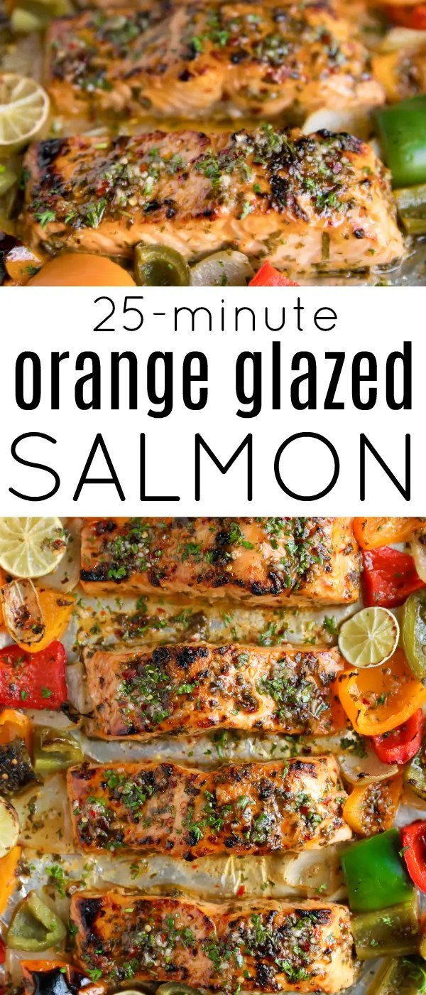Chili Lime Orange Glazed Salmon Recipe (25 Minutes!) #salmon #sheetpan #easydinner #fish #healthy #peppers #lowcarb #dairyfree #chilisauce