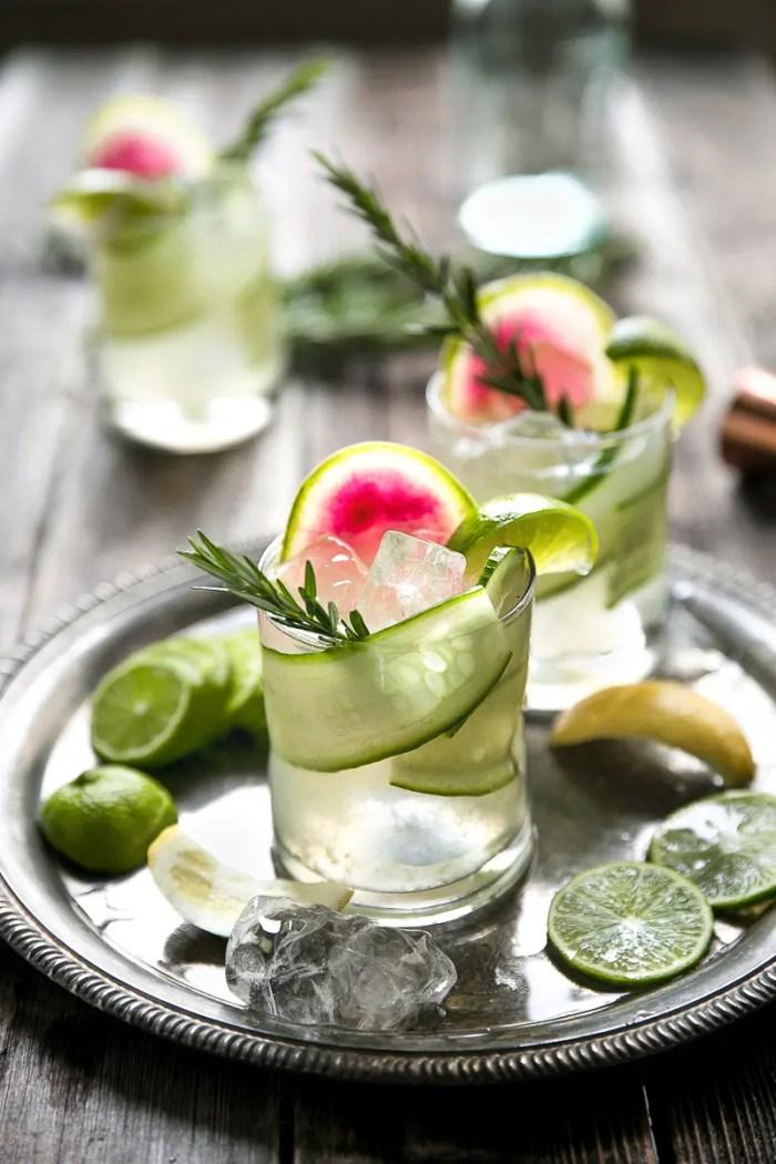 "Cucumber Rosemary Gin and Tonic. Easy Cucumber, Rosemary, and Watermelon Radish Gin & Tonic (aka ""The Drunk Cucumber)"