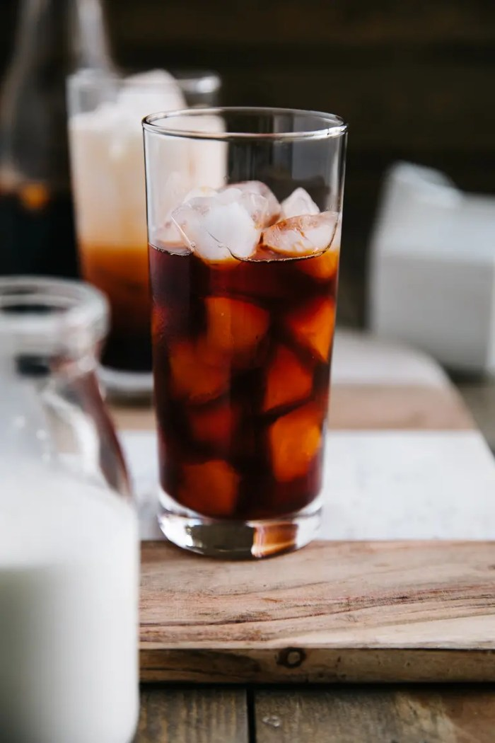 Glass filled with ice and steeped Thai Iced Tea