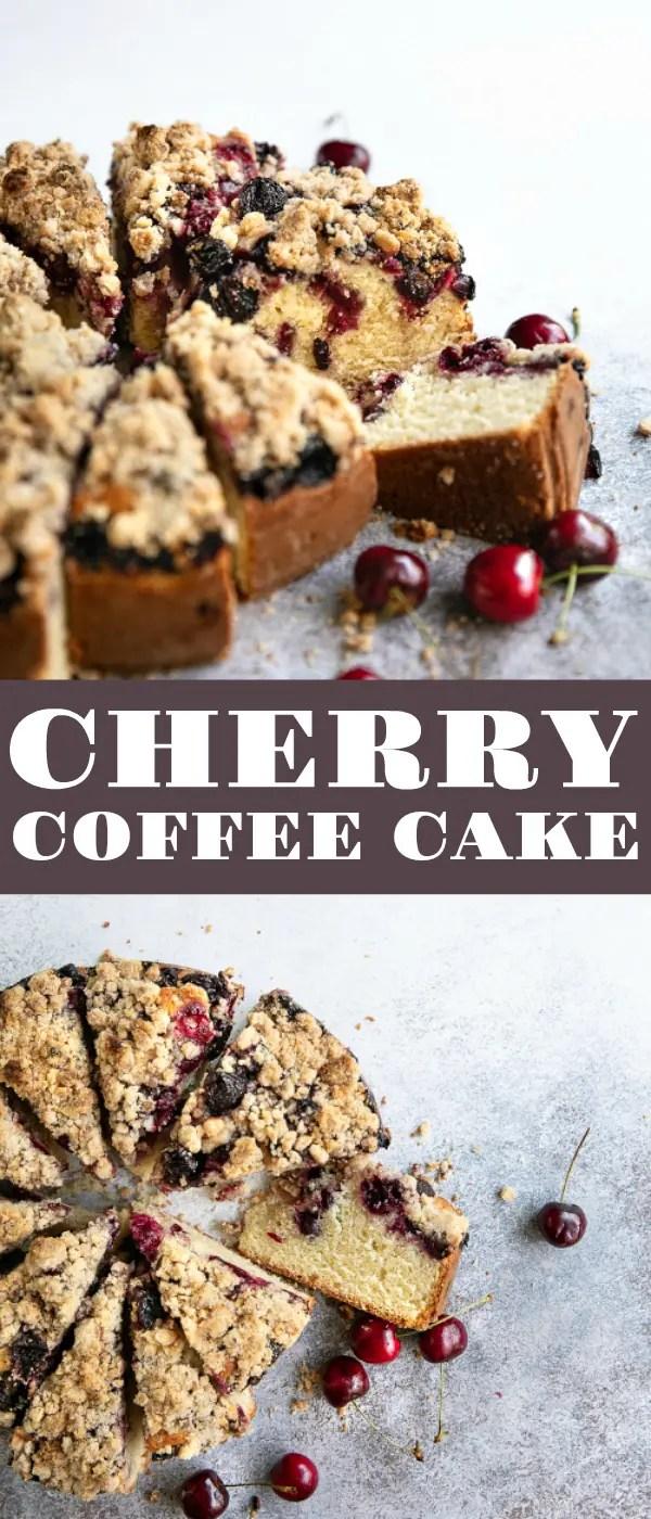 Cherry Coffee Cake Recipe #coffeecake #cake #cherrycake #cakerecipe #crumbcakerecipe #crumbcake #freshcherries #coffeecakerecipe | For this recipe and more visit, https://theforkedspoon.com/cherry-coffee-cake-recipe