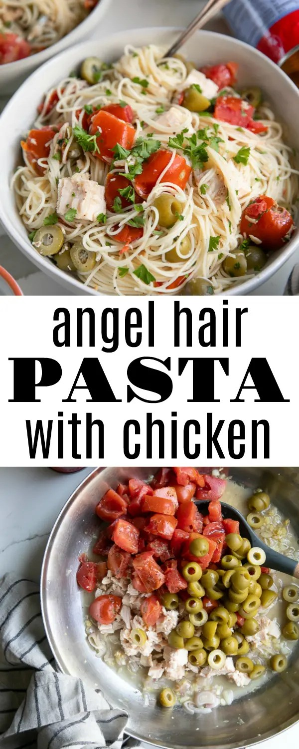 15-Minute Angel Hair Pasta Recipe with Chicken, olives, and vine-ripened tomatoes. Loved by the whole family (even those picky eaters!), this easy pasta with chicken uses canned foods to help eliminate waste; save you time in the kitchen; and get your family essentials like protein and vegetables. #ad #CansGetYouCooking @CansGetYouCooking #pasta #easydinner #chickendinner #fastdinneridea | | For this recipe visit, https://theforkedspoon.com/angel-hair-pasta-recipe-chicken/