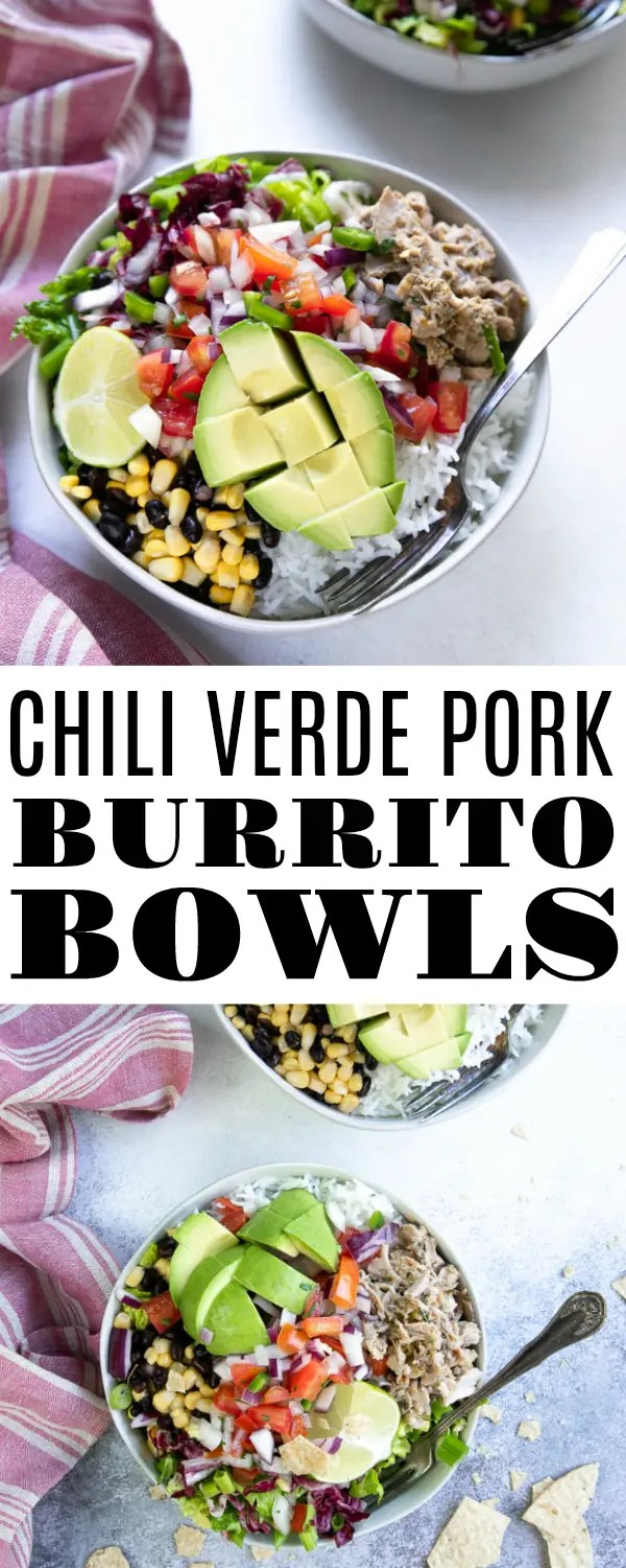 Chili Verde Pork Burrito Bowls- juicy pieces of slow-cooked chili Verde pork served with rice, crunchy greens, sweet corn, black beans, fresh pico de gallo, and fried tortilla chips. It\'s everything you\'d want in a burrito, minus the tortilla. #chiliverdepork #chiliverde #slowcookerrecipe #burritobowl #easydinneridea | For this recipe and more visit, https://theforkedspoon.com