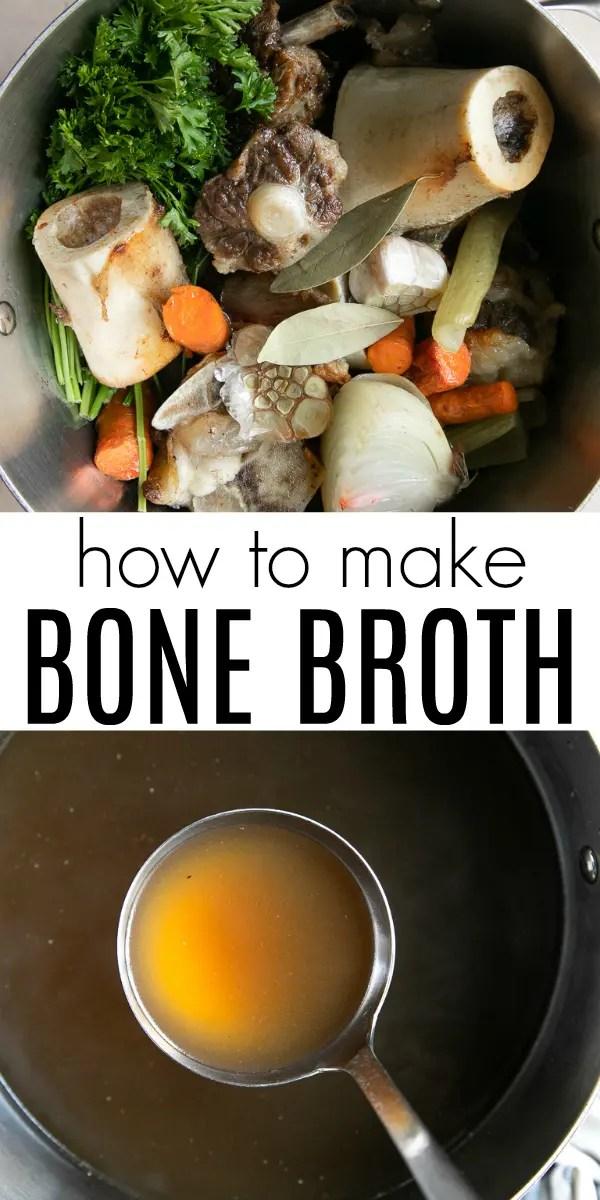 Homemade Bone Broth Recipe (How to Make Bone Broth) #bonebroth #beef #beefstock #beefbroth #homemade #soup #glutenfree #dairyfree | For this recipe and more visit, https://theforkedspoon.com/bone-broth-recipe/