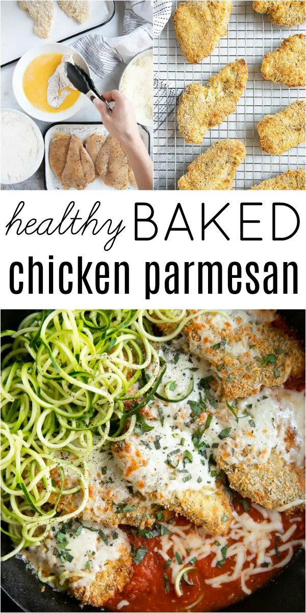 Baked Chicken Parmesan Recipe #chicken #chickendinner #chickenparmesan #bakedchickenparmesan #chickenparm #marinarasauce   For this recipe and more visit, https://theforkedspoon.com/baked-chicken-parmesan/