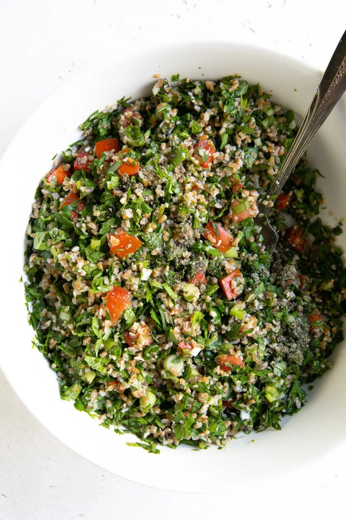 White bowl filled with prepared Tabbouleh salad.