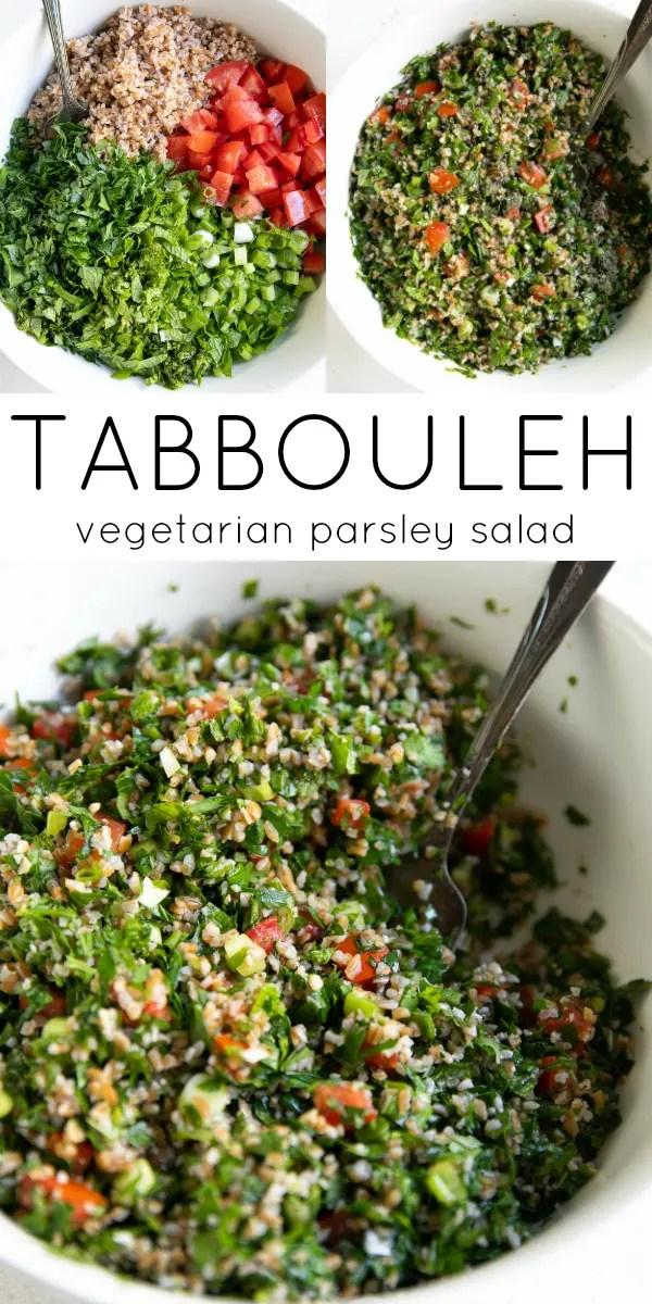 Tabbouleh (Tabouli Salad Recipe) #tabbouleh #tabboulehsalad #tabouli #taboulisalad #middleeasternfood #bulgur #vegan #vegetarian #dairyfree #saladrecipe #NOTglutenfree