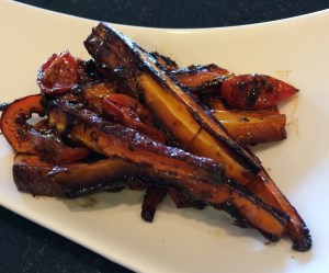 Roasted Carrots, Grape Tomatoes and Black Garlic