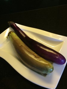 Filipino Eggplant next to a Chinese Eggplant