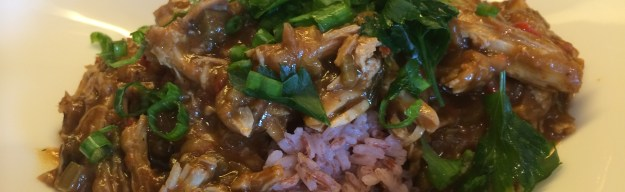 Easy Chicken Gumbo over Pink Rice