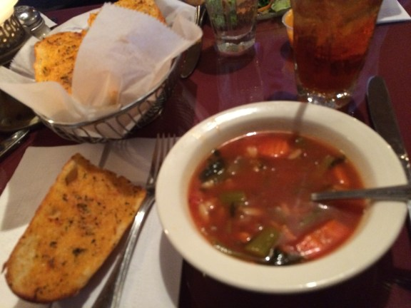 Garlic Bread with House Made Vegetable Orzo Soup