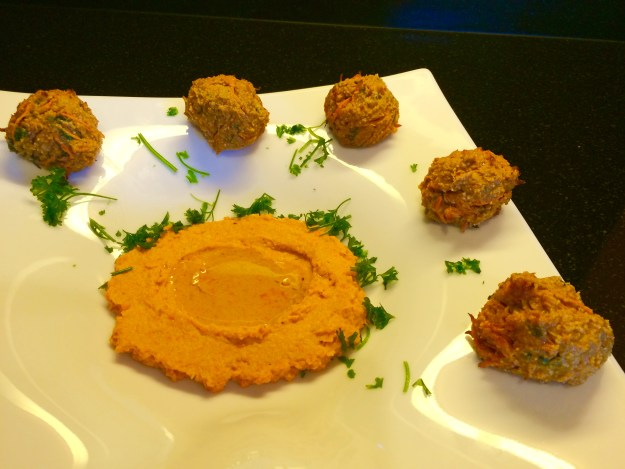 Carrot Hummus with Paprika Carrot Chickpea Falafel Style Vegetarian balls
