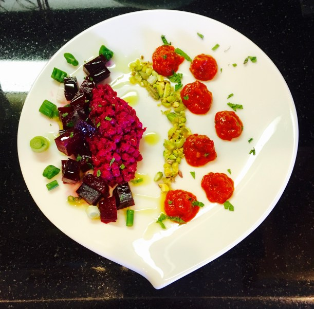 Pickled Beet Israeli Couscous and Harissa Vinagrete