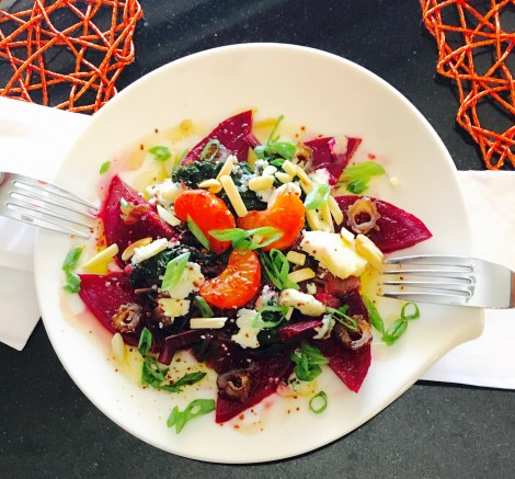 Pickled Beets with Stems, Leaves, Clementines and Blue Cheese