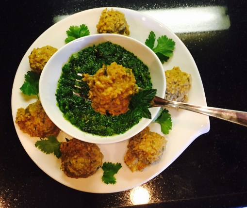 Indian Inspired Turkey Meatballs with Green Chutney (Chutney is just handful mint, handful cilantro, 1/2t cumin seeds, 2 garlic, 1t lemon J. salt)